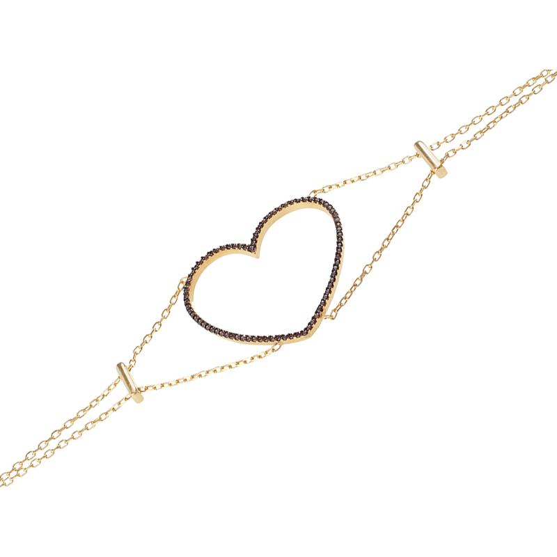 HEART BRACELET GOLD VERMEIL CHOCOLATE CZ STONES