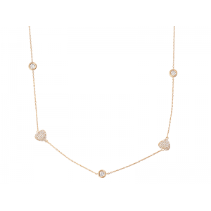 HEART NECKLACE ROSE GOLD VERMEIL WHITE CZ STONES