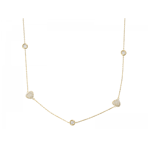 HEART NECKLACE GOLD VERMEIL WHITE CZ STONES