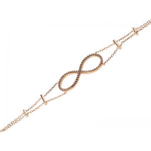 INFINITY BRACELET ROSE GOLD VERMEIL CHAMPAGNE CZ STONES