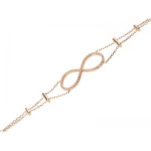 INFINITY BRACELET ROSE GOLD VERMEIL WHITE CZ STONES