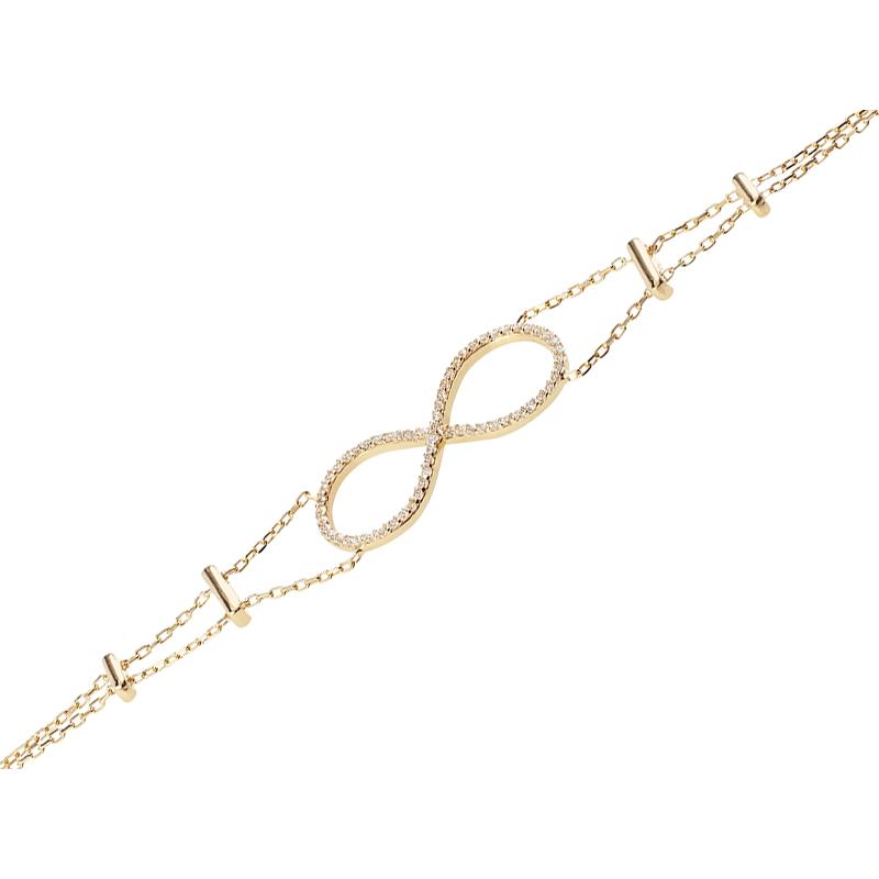INFINITY BRACELET GOLD VERMEIL WHITE CZ STONES