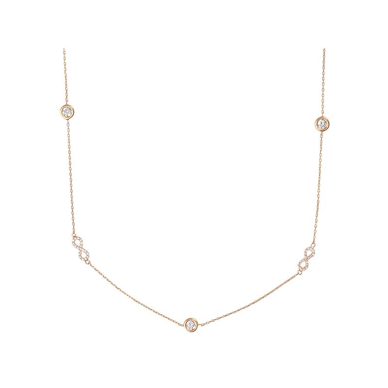 INFINITY NECKLACE ROSE GOLD VERMEIL AND ROUND SINGLE STONES