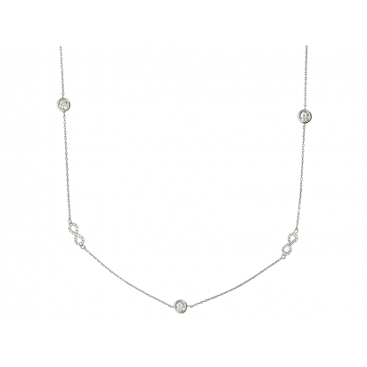 INFINITY NECKLACE SILVER 925 WITH WHITE CZ STONES