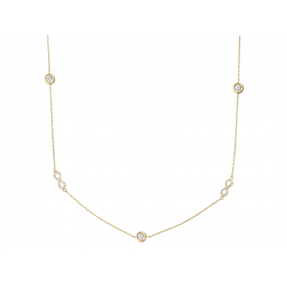 INFINITY NECKLACE GOLD VERMEIL WITH WHITE CZ STONES