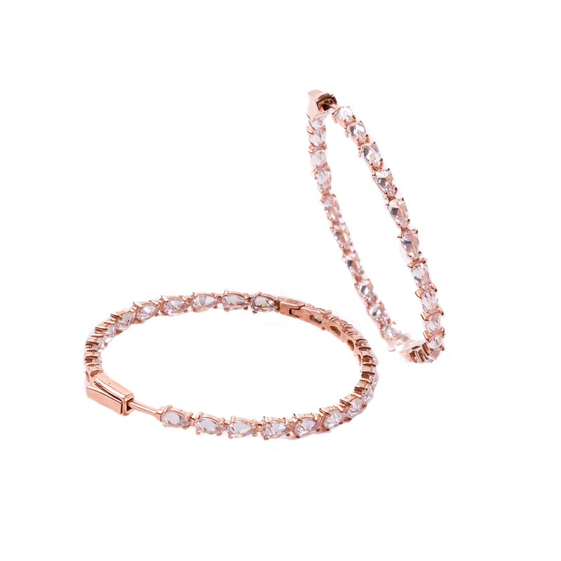 LARGE HOOP EARRINGS ROSE GOLD VERMEIL