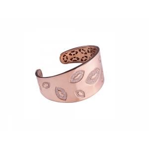 LIP BANGLE ROSE GOLD VERMEIL WHITE CZ STONES