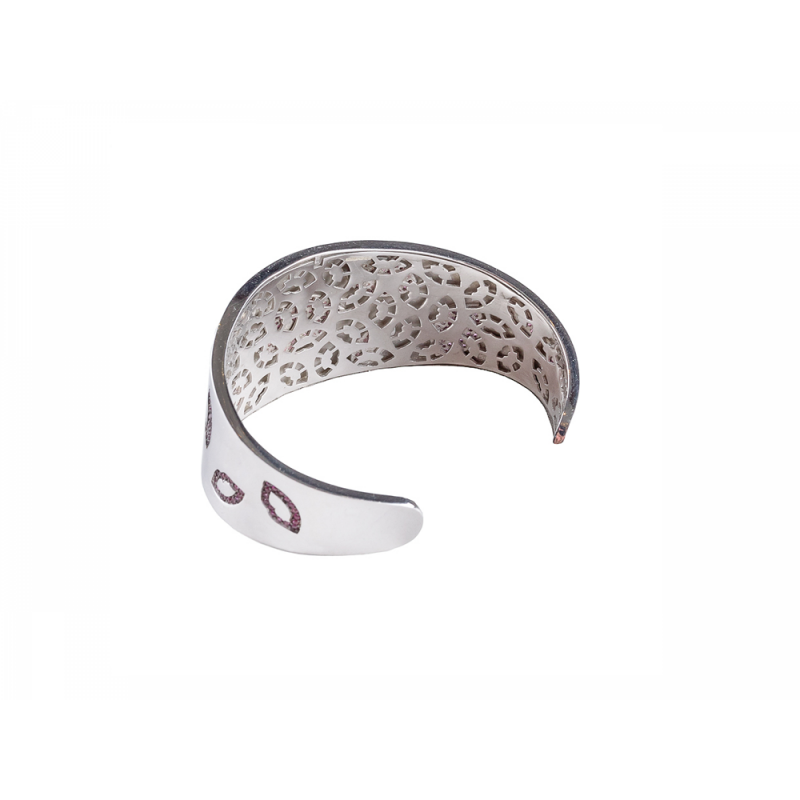 LIP BANGLE SILVER RED CZ STONES