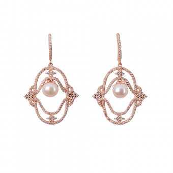 MAJESTIC PEARL EARRINGS ROSE GOLD VERMEIL