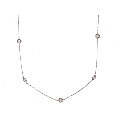 MARQUISE NECKLACE BLACK RHODIUM SILVER WITH WHITE CZ STONES