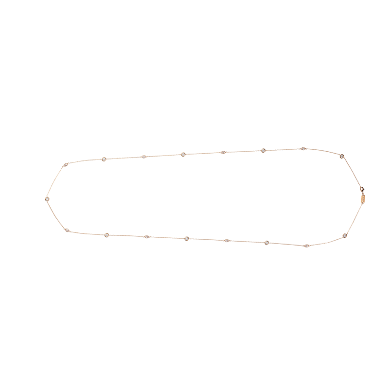 MARQUISE NECKLACE ROSE GOLD VERMEIL WHITE CZ STONES