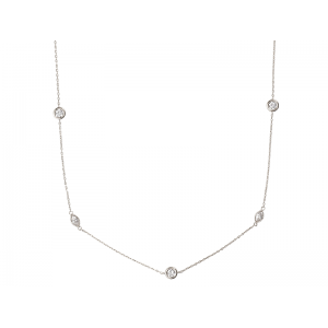 MARQUISE NECKLACE SILVER 925 WITH WHITE STONES