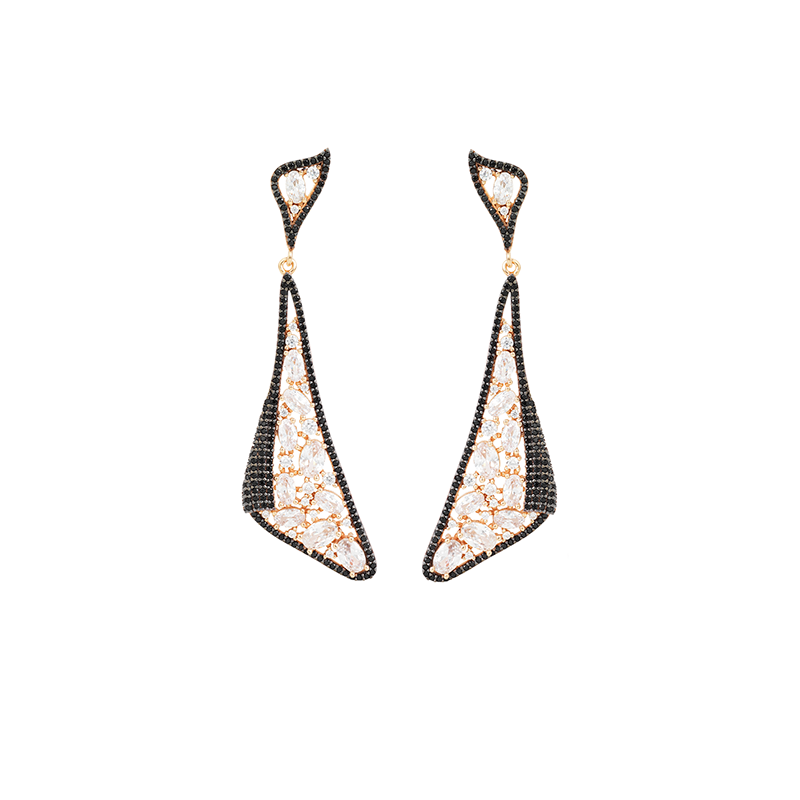 MOSAIC DROP EARRINGS ROSE GOLD VERMEIL WHITE AND BLACK CZ STONES