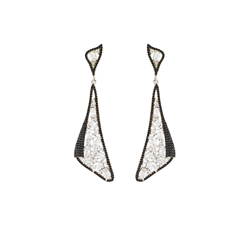 MOSAIC DROP EARRINGS SILVER WHITE AND BLACK CZ STONES