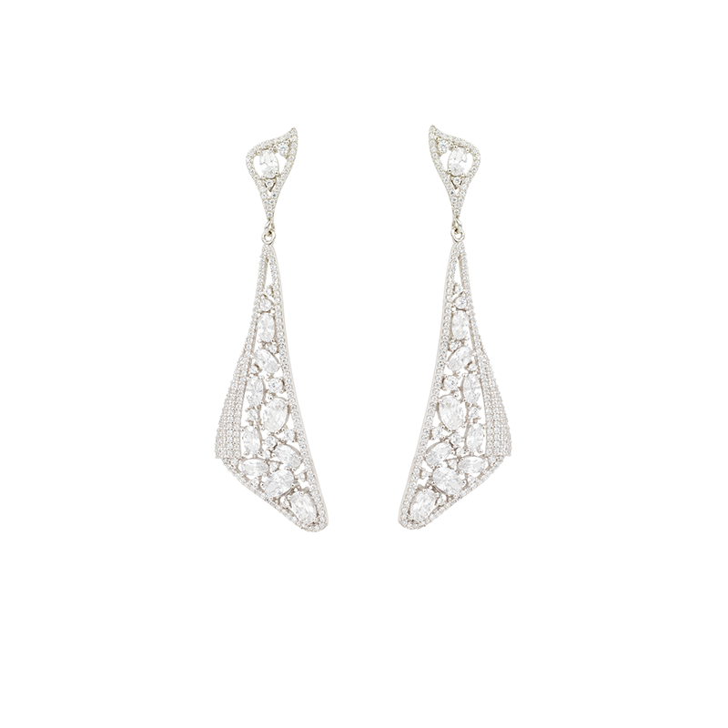 MOSAIC DROP EARRINGS SILVER