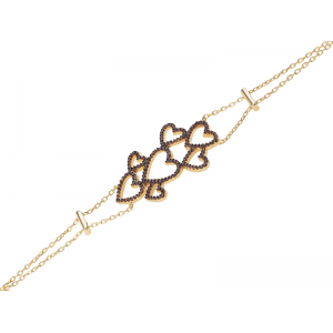 MULTI HEART BRACELET GOLD VERMEIL CHOCOLATE CZ STONES