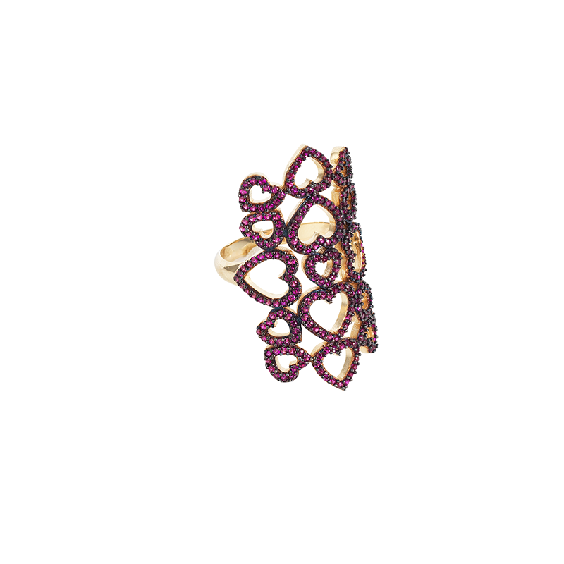 MULTI HEART RING GOLD VERMEIL WITH RUBY RED PAVE CZ