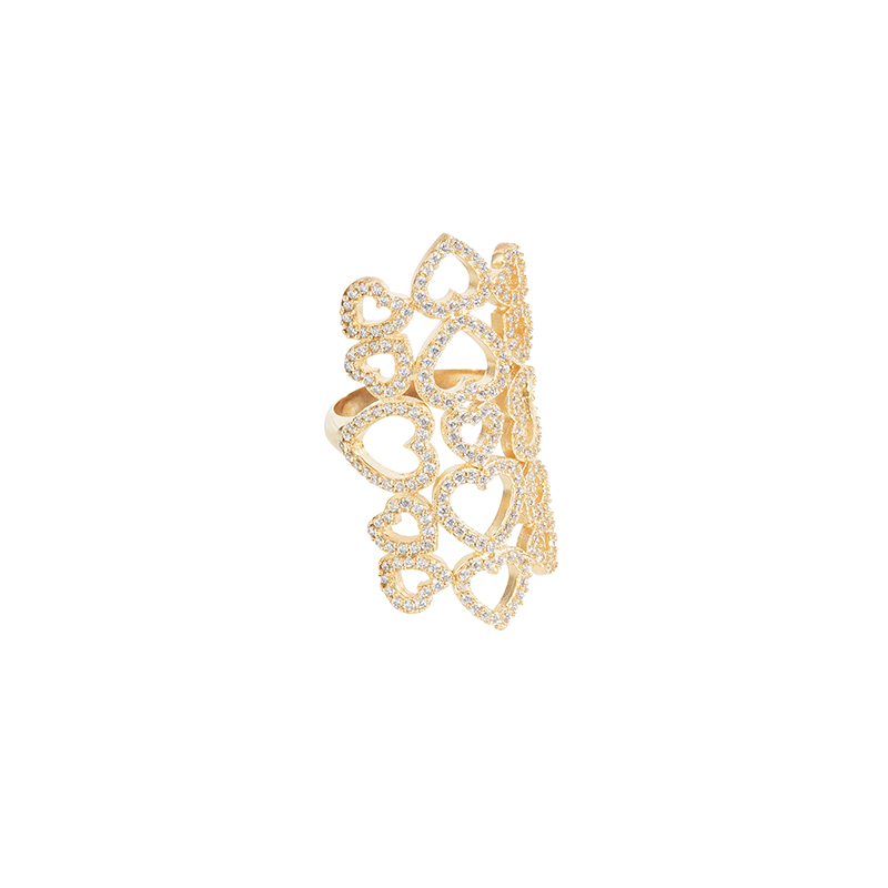 MULTI HEART RING GOLD VERMEIL