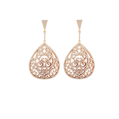 ORNATE EARRINGS ROSE GOLD VERMEIL