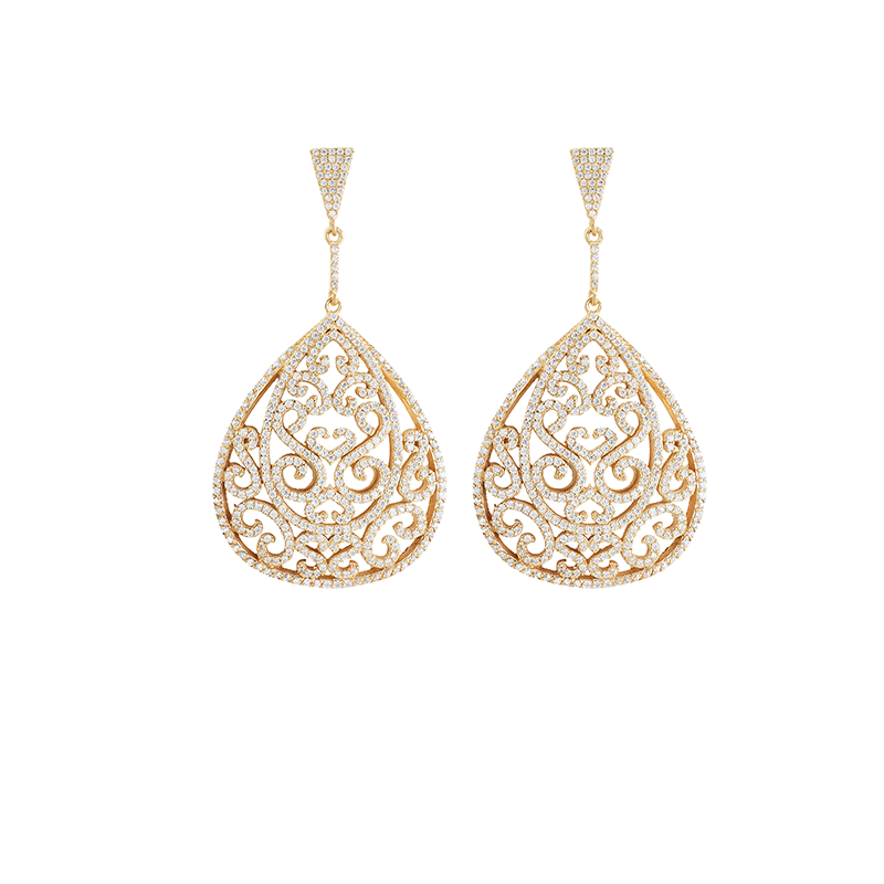 ORNATE EARRINGS GOLD VERMEIL