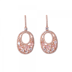 OVALIS MOSAIC EARRINGS ROSE GOLD VERMEIL WHITE AND PINK CZ STONES