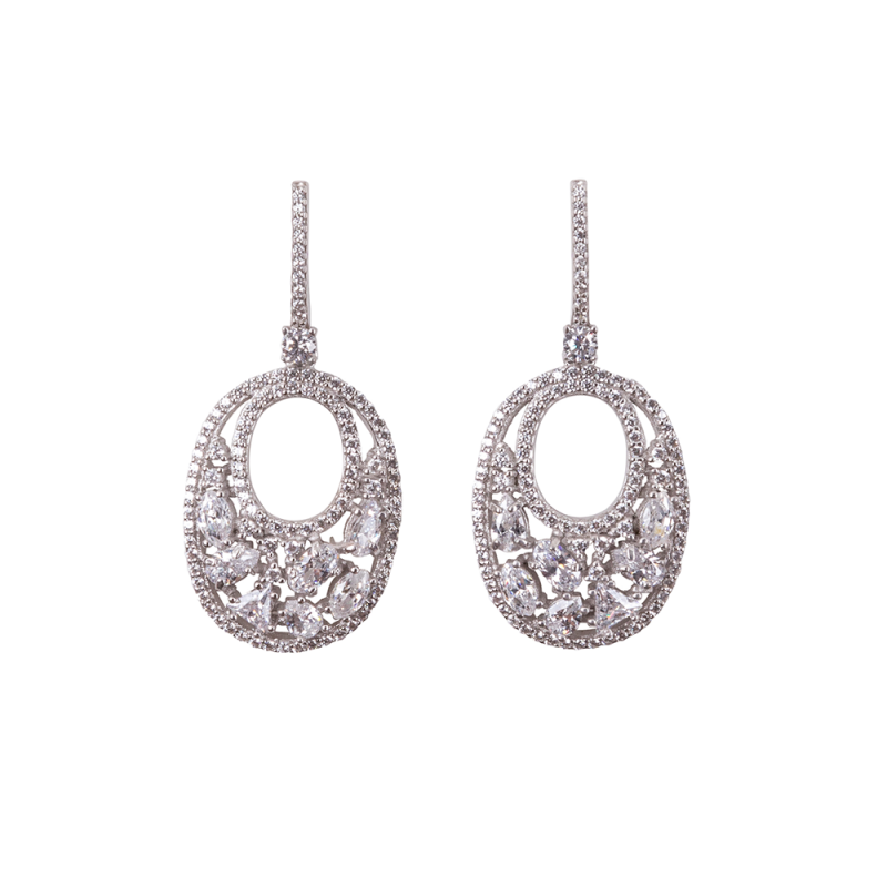OVALIS MOSAIC EARRINGS SILVER WHITE CZ STONES