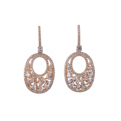 OVALIS MOSAIC EARRINGS GOLD VERMEIL WHITE CZ STONES