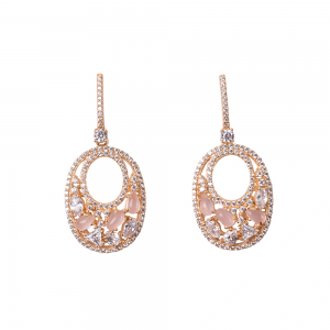 OVALIS MOSAIC EARRINGS GOLD VERMEIL WHITE AND PINK CZ STONES