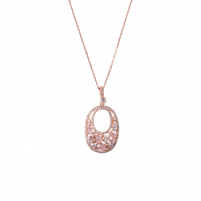 OVALIS MOSAIC PENDANT ROSE GOLD VERMEIL WHITE AND PINK CZ STONES