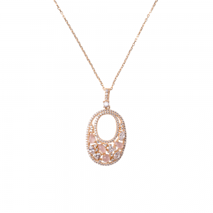 OVALIS MOSAIC PENDANT GOLD VERMEIL WHITE AND PINK CZ STONES