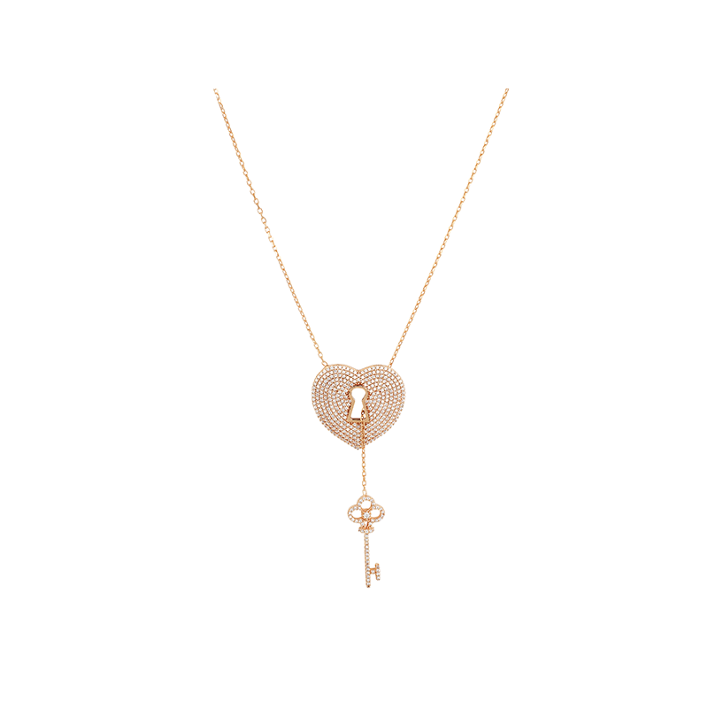 PADLOCK AND KEY ELEVATOR PENDANT ROSE GOLD VERMEIL