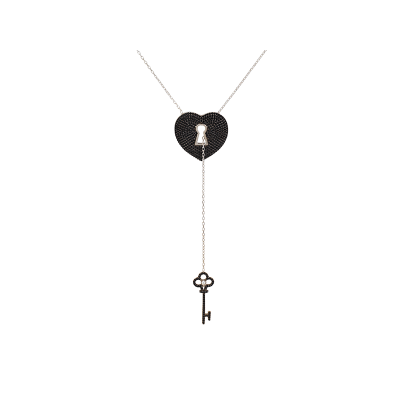 PADLOCK AND KEY ELEVATOR PENDANT SILVER BLACK STONES