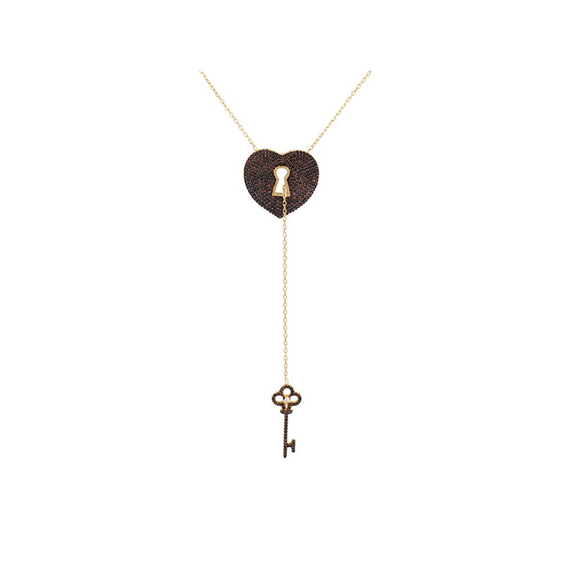 PADLOCK AND KEY ELEVATOR PENDANT GOLD VERMEIL CHOCOLATE STONES