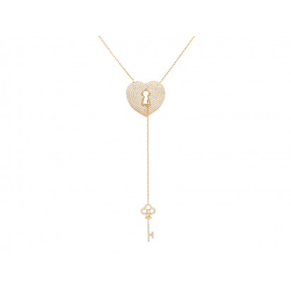PADLOCK AND KEY ELEVATOR PENDANT GOLD VERMEIL
