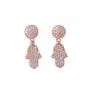 FULL PAVE HAMSA EARRINGS ROSE GOLD VERMEIL