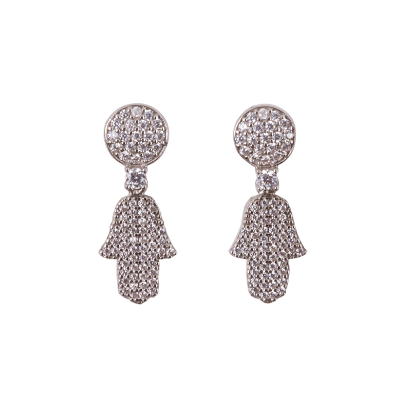 FULL PAVE HAMSA EARRINGS SILVER