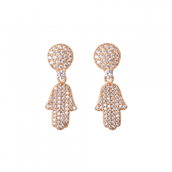 FULL PAVE HAMSA EARRINGS GOLD VERMEIL