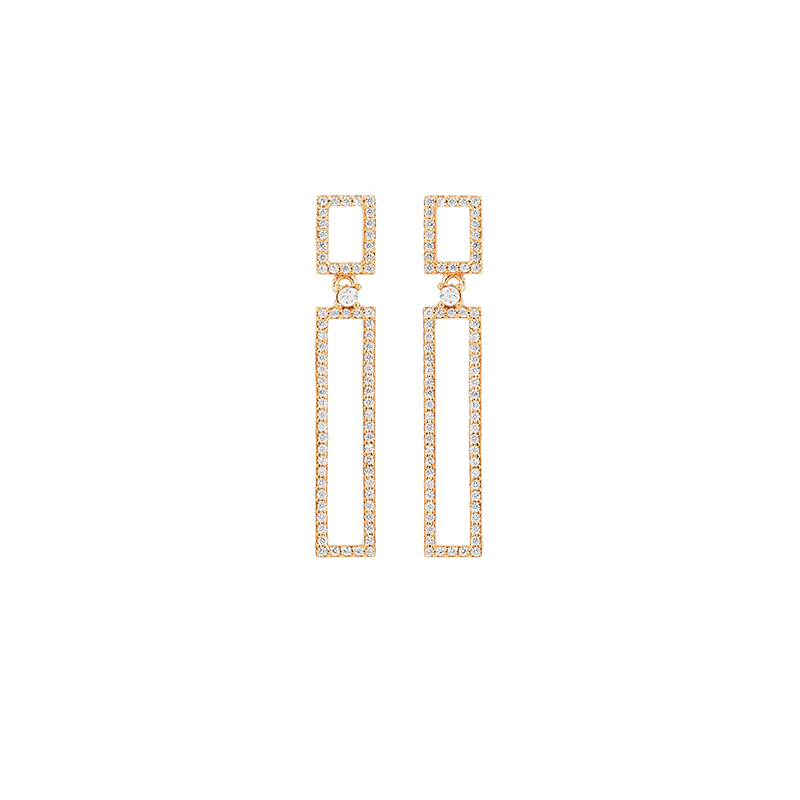 RECTANGLE EARRINGS ROSE GOLD VERMEIL