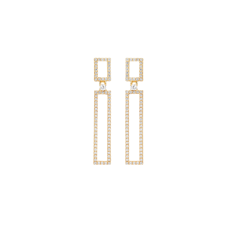 RECTANGLE EARRINGS GOLD VERMEIL