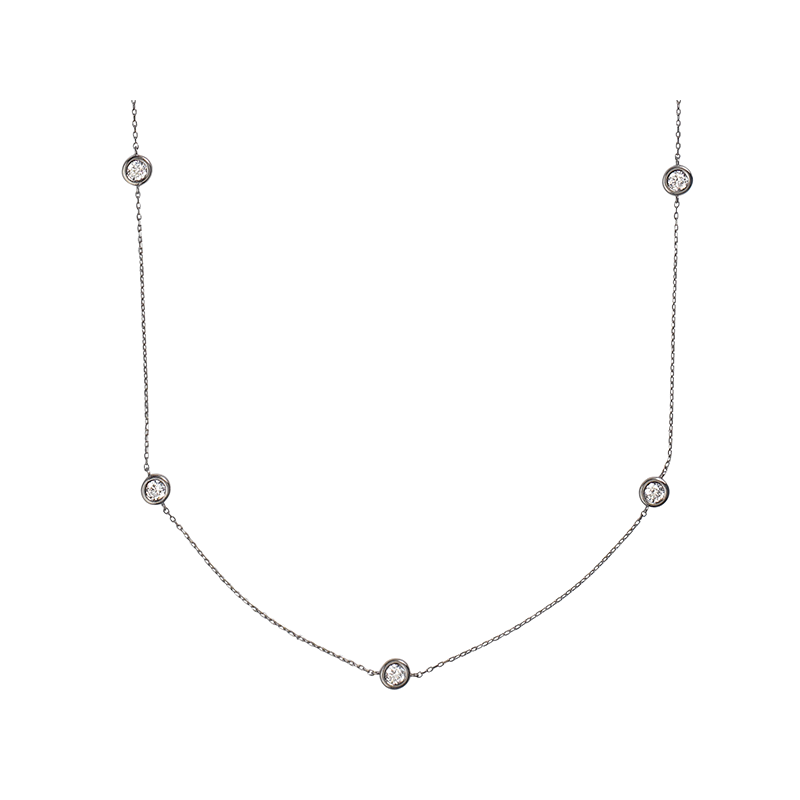 BY THE YARD ROUND NECKLACE BLACK RHODIUM SILVER WHITE CZ STONES