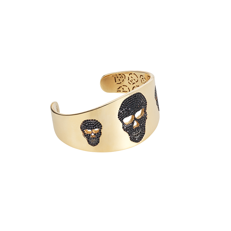 SKULL BANGLE ROSE GOLD VERMEIL BLACK