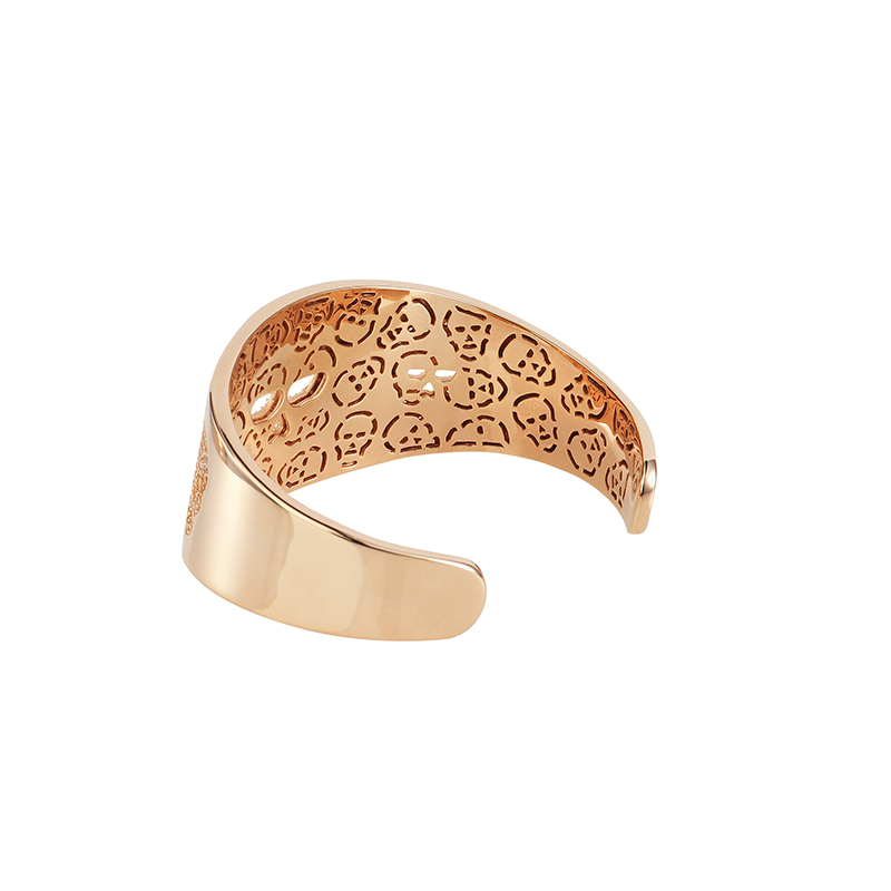 SKULL BANGLE ROSE GOLD VERMEIL WHITE