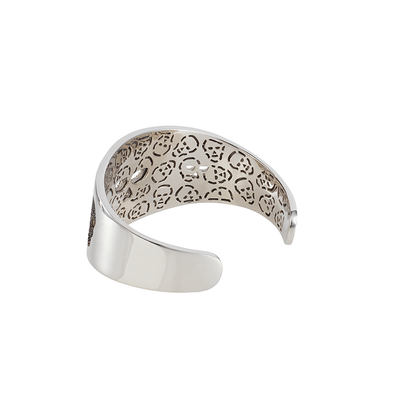 SKULL BANGLE WHITE RHODIUM BLACK