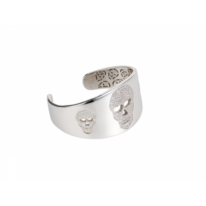 SKULL BANGLE WHITE RHODIUM