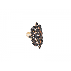SKULLY RING ROSE GOLD VERMEIL BLACK