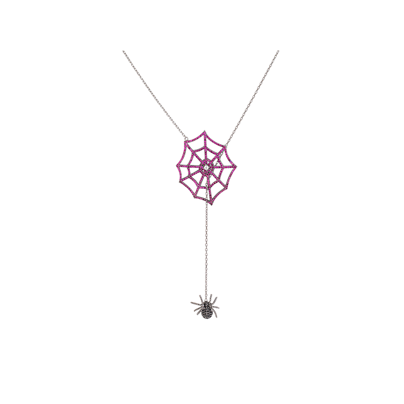 SPIDER AND WEB ELEVATOR PENDANT BLACK RHODIUM