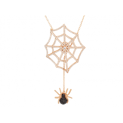 SPIDER AND WEB ELEVATOR PENDANT ROSE GOLD