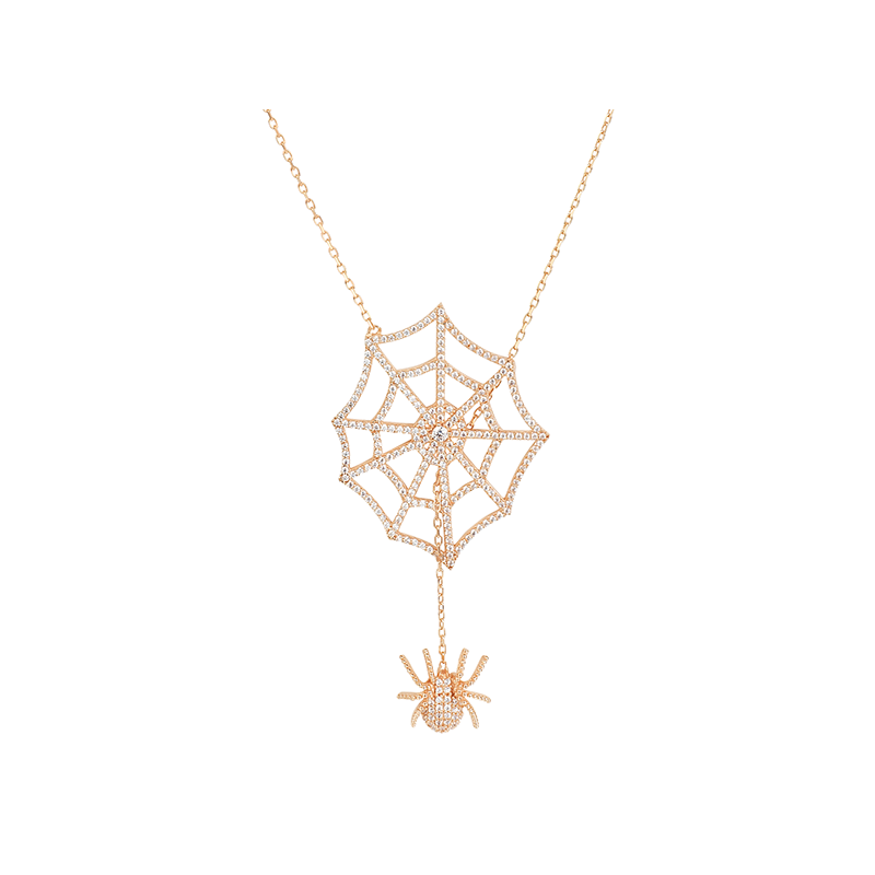 SPIDER AND WEB ELEVATOR PENDANT ROSE GOLD VERMEIL WHITE STONES