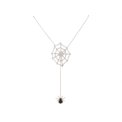 SPIDER AND WEB ELEVATOR PENDANT WHITE RHODIUM