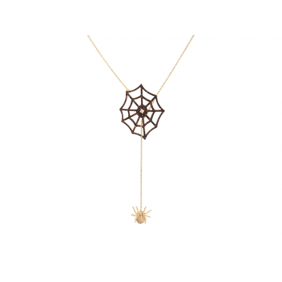 SPIDER AND WEB ELEVATOR PENDANT GOLD VERMEIL WITH CHOCOLATE CZ STONES